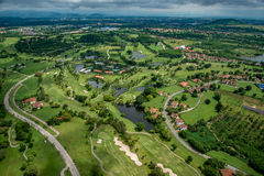 Golf course from the air. Golf course  in Thailand Aerial Photography Royalty Free Stock Photos