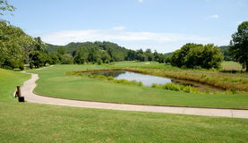 Golf Course And Water Hazard Royalty Free Stock Photos