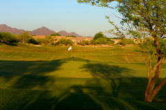 Golf course in the Arizona desert. With mountains in the late afternoon sun Royalty Free Stock Photography