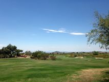 Golf Course In Arizona. Golf course in Scottsdale, Arizona at a local country club for people to play golf stock photo