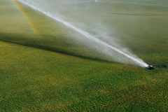 Golf course automatic lawn sprinkler. In action Stock Images