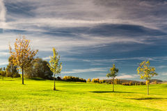 On the golf course in autumn. In Prague in Czech Republic Royalty Free Stock Image