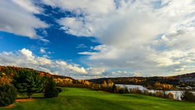 Golf Course Autumn Colors & Clouds stock footage