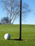 Golf course ball and flag Royalty Free Stock Photo