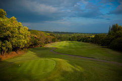 Golf Course bathed in Golden Light Stock Photo