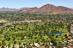 Golf Course below Camelback Mountain Royalty Free Stock Photo