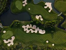 Golf course from bird eye view