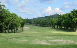 Golf course with blue sky Stock Photography