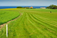 Golf course on Bornholm island. Viwe with sea, Denmark, Europe stock photo