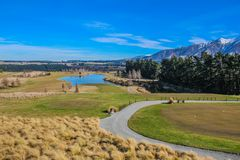 Golf course in Canterbury, New Zealand stock images