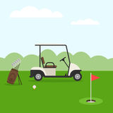Golf course and car. Golf course. Golf landscape in flat style. Vector illustration Royalty Free Stock Images