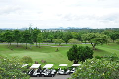 Golf Course and Carts Stock Photos