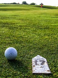 Golf course. Close up of a golf ball in a golf course Royalty Free Stock Image