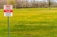 Golf Course Closed Sign. For the season Royalty Free Stock Photos