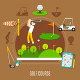 Golf Course Composition. With player in swing stance, game field with flags on brown background vector illustration Royalty Free Stock Image