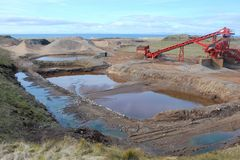 Golf Course Construction. Groundwork for new golf course under construction on the Argyll coast, Scotland stock photos