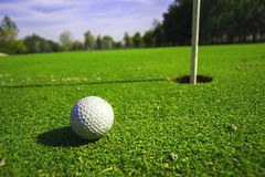 Golf course detail. With the ball in front Stock Photo