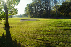 Golf course detail. In the sunset Royalty Free Stock Photos