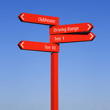 Golf course direction information signs Stock Image