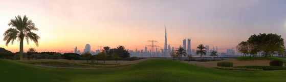 The golf course in dubai royalty free stock photography