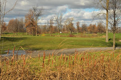 Golf course in fall royalty free stock photos