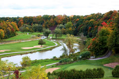 Golf Course in the Fall. View of the Glen Abby golf course in fall colours Stock Photos