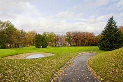Golf course at fall Royalty Free Stock Photos