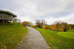 Golf course at fall. Autumn landscape with a golf course at rainy day Stock Photo