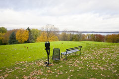Golf course at fall. Autumn landscape with a golf course at rainy day Royalty Free Stock Photo