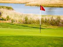 Golf course flag in green Royalty Free Stock Photo