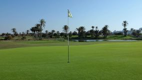 Golf course with flag. In the middle stock video footage