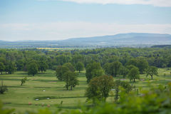 Golf course with gorgeous green and fantastic mountain view Royalty Free Stock Photos