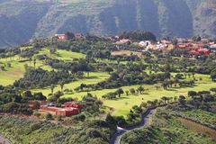 Golf course. Gran Canaria golf course - distant view of a country club in Canary Islands royalty free stock images