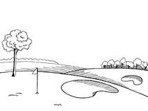 Golf course graphic art black white landscape sketch illustration Royalty Free Stock Image