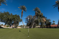 Golf course green with flag in hole Royalty Free Stock Photography