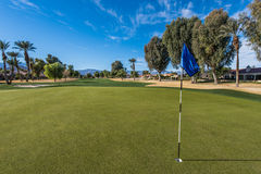 Golf course green with flag in hole Stock Images