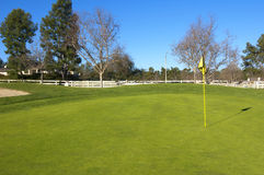 Golf course with green grass, trees and fence Royalty Free Stock Photos