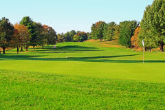 Golf Course. Green turf with flag in autumn Royalty Free Stock Photography