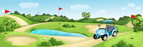 Golf course with green, water and sand bunker. Summer landscape vector cartoon illustration. Golf cart and flags on lawn
