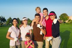 Golf course group of friends people with children Stock Photography