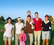 Golf course group of friends people with children. Posing standing Royalty Free Stock Photography