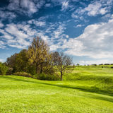 Golf course on the hills Royalty Free Stock Image