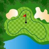 Golf Course Hole. With bunkers and water Stock Photos
