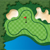 Golf Course Hole. With bunkers and water Stock Images
