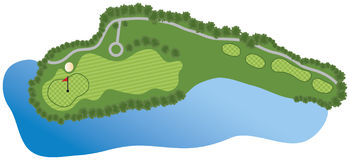 Golf Course Hole. With bunker and water Stock Photos