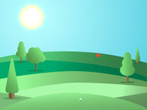 Golf course with a hole and a red flag. Landscape with green fields and trees. Sunny day. Vector Stock Photography