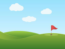 Golf. Golf course with hole and red flag. Vector illustration vector illustration