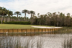 A golf course hole with water royalty free stock photo