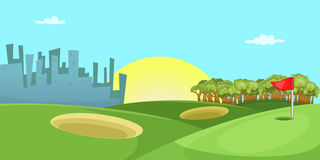 Golf course horizontal banner, cartoon style Stock Image
