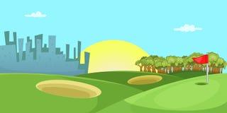 Golf course horizontal banner, cartoon style. Golf course horizontal banner concept. Cartoon illustration of golf course vector horizontal banner for web Stock Image